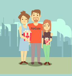 cartoon happy family with popcorn on city vector image