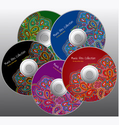 cd color design set in paisley floral style vector image