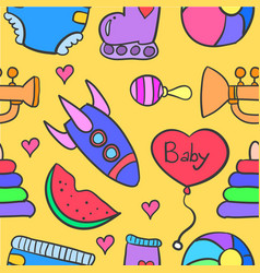 Collection of baby element doodle set vector