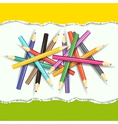 Collection of pencils on abstract background vector image