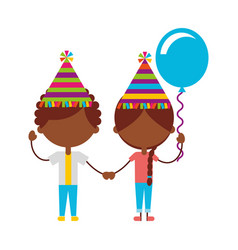 Cute black kids with balloons air party characters vector