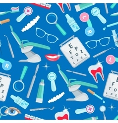 Dentistry seamless pattern of dental care items vector