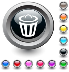Dustbin round button vector
