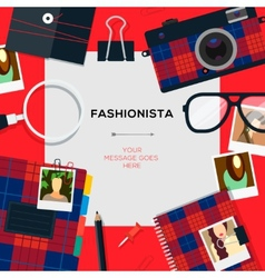 Fashionista template with accessories vector