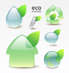 green glossy eco icons vector image vector image