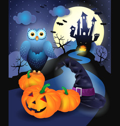 halloween background in blue vector image