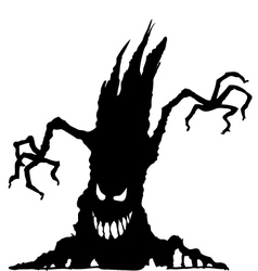 Halloween scary tree silhouette isolated vector