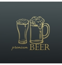 Hand drawn mug of beer in old slyle vector image vector image