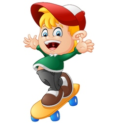 Happy Cartoon Skateboard Boy vector image vector image