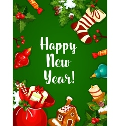 Happy new year greeting poster vector