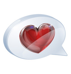 heart speech bubble vector image vector image