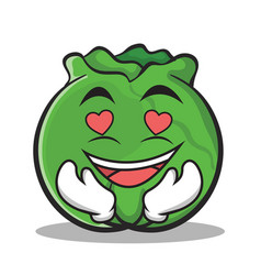 in love cabbage cartoon character style vector image vector image
