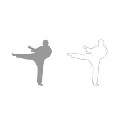 karate man set icon vector image