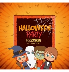 Kid poster halloween party costume design isolated vector
