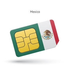 Mexico mobile phone sim card with flag vector