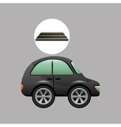 Micro car on road design vector