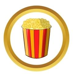 Popcorn in striped bucket icon vector