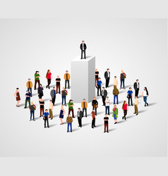 real leader business man on pedestal in crowd vector image