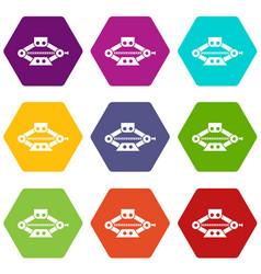 Red scissor car jack icon set color hexahedron vector