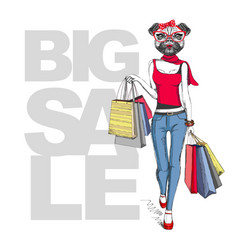 Retro hipster animal girl pug dog big sale vector