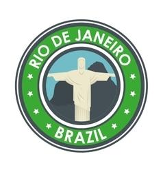 Rio de janeiro brazil statue jesus emblem graphic vector