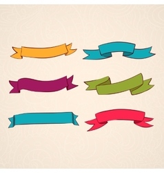 set of ribbons vintage style design vector image vector image