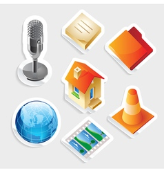 Sticker icon set for interface vector image