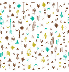 Tribal hand drawn background ethnic seamless vector