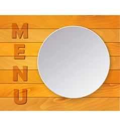 White plate on wood background for restaurant menu vector