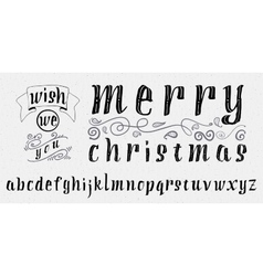 Wish we you merry christmas insignia and labels vector image
