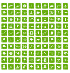 100 microbiology icons set grunge green vector