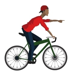 Man riding bike pointing forward icon vector