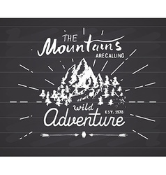 Mountains handdrawn sketch emblem outdoor camping vector