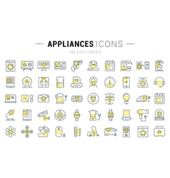 Set Flat Line Icons Appliance vector image