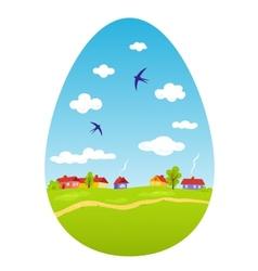 Spring landscape in the form of Easter egg vector image