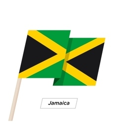 Jamaica ribbon waving flag isolated on white vector