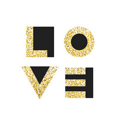 Love typography t-shirt graphics Gold geometric vector image