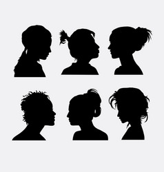 Hair and face expression silhouette vector