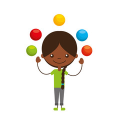 Cute girl juggling balls character icon vector