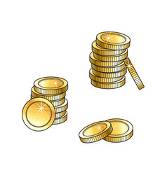 Stacks of gold coins tall and short money symbol vector