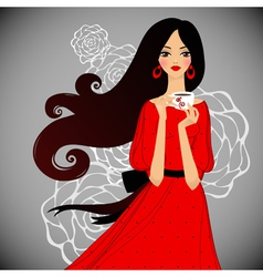 Girl with cup of tea vector