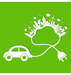 Ecology concept with eco car and cloud vector