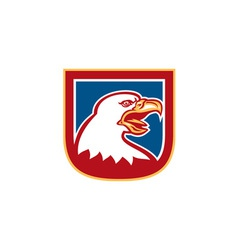 American Bald Eagle Head Shield Retro vector image