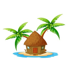 An island with a nipa hut vector image