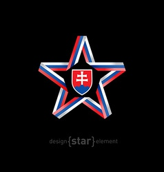 Star with slovakia flag colors and coat of arms on vector
