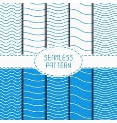 Set of geometric seamless wavy lines pattern vector