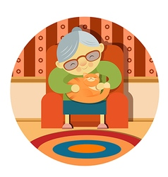 Grandmother and her cat vector