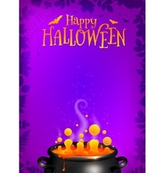 Purple halloween poster template with orange vector