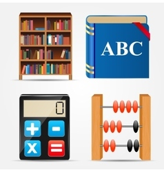 Bookcase notepad calculator abacus icon vector