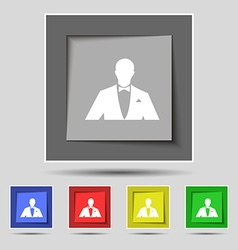 Silhouette of man in business suit icon sign on vector